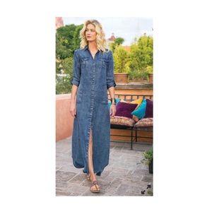Soft surroundings Chambray Button denim maxi dress